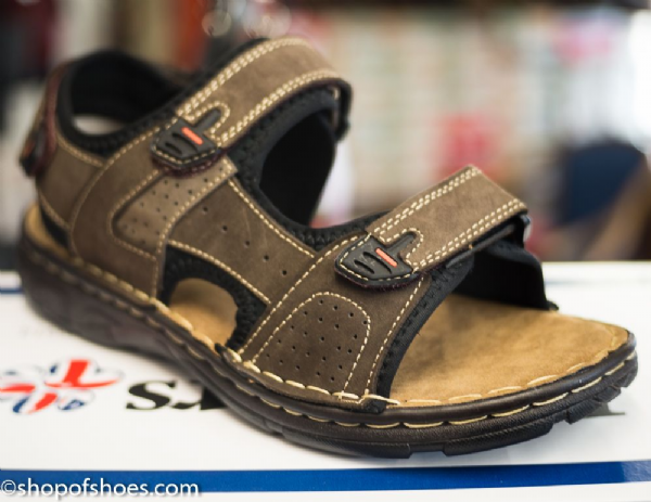 Ocean Adjustable open suede leather mens sandal.